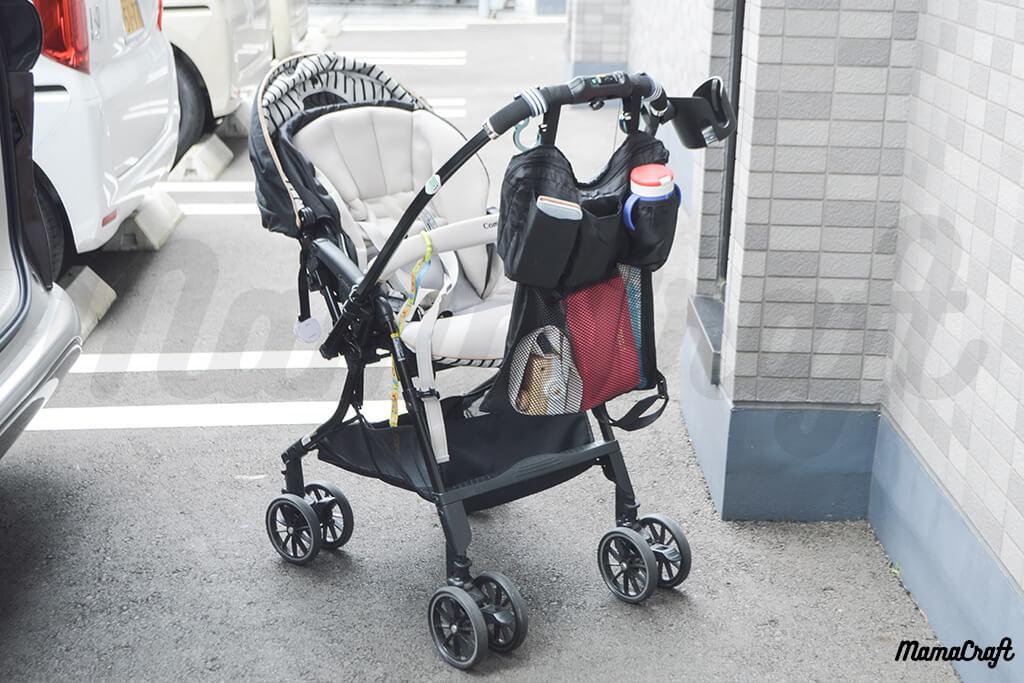 多機能シートバッグをベビーカーに付けてみた