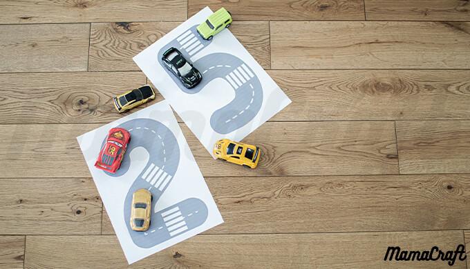 トミカなどのミニカーあそびに◎印刷したらすぐ使える!数字の道路マップ!グレーの道路バージョン
